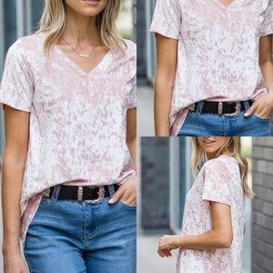 Sz M- L -XL Crushed Velvet Relaxed Hi Low Tee